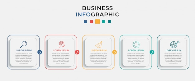 Business infographic design template with 5 options or steps