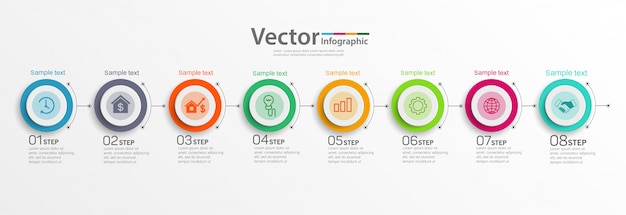 8つのステップのビジネスインフォグラフィックデザインテンプレート