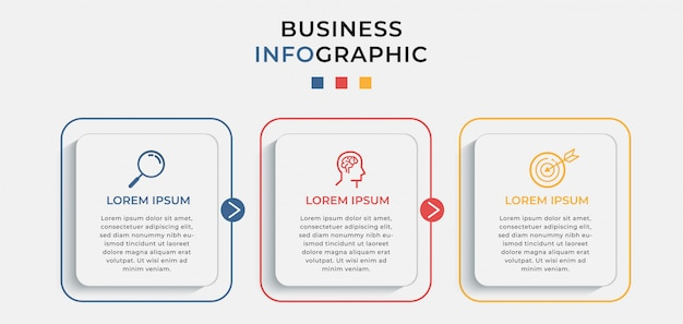 Business infographic design template with icons and 3 three options or steps.