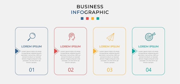Business infographic design template with icons and 4 four options or steps.