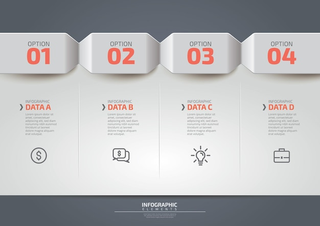 Business infographic design template with icons and 4 four options or steps