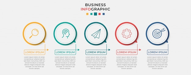 Business infographic design template with icons and 5 five options or steps. can be used for process diagram, presentations, workflow layout, banner, flow chart, info graph