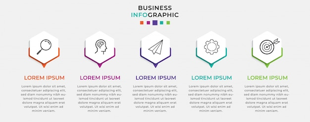 Business infographic design template   with icons and 5 five options or steps.