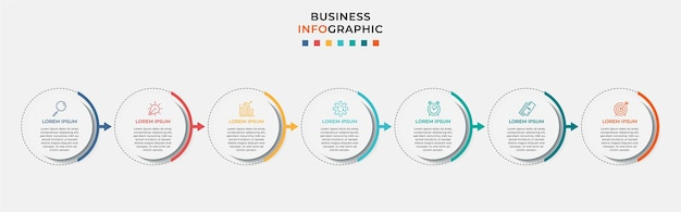 Business infographic design template   with icons and 7 seven options or steps.