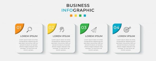 Шаблон оформления бизнес инфографики с иконами и 4 четыре варианта или шага.