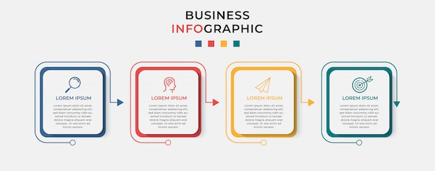 アイコンと4つの4つのオプションまたは手順のビジネスインフォグラフィックデザインテンプレート。