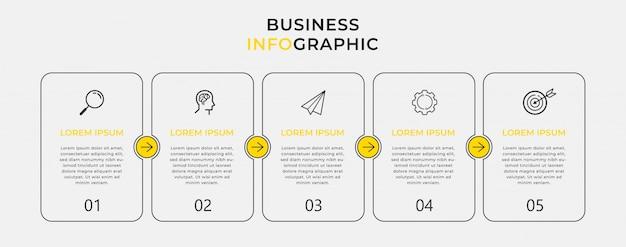 アイコンと5つの5つのオプションまたは手順のビジネスインフォグラフィックデザインテンプレート。