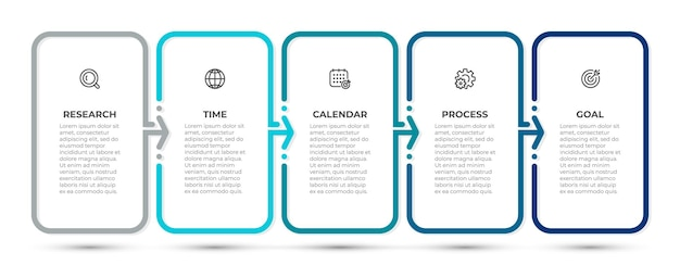 Шаблон бизнес-инфографики с иконками и 5 вариантами или шагами