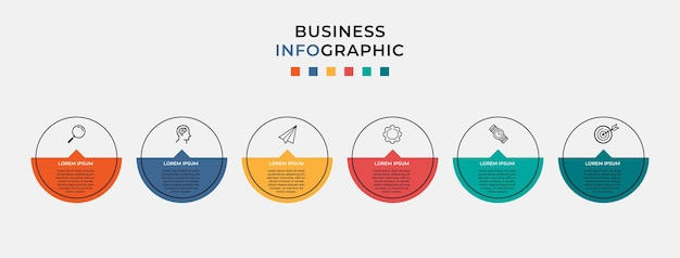 Шаблон оформления бизнес инфографики с иконами и 6 шесть вариантов или шагов.