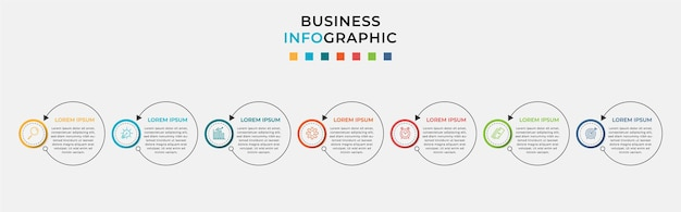 アイコンと7つの7つのオプションまたはステップを備えたビジネスインフォグラフィックデザインテンプレート。