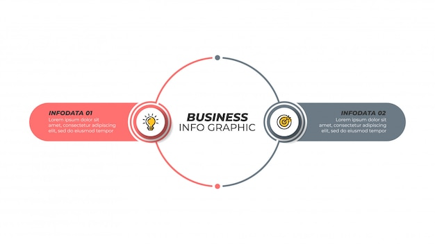 Business infographic design template with marketing icons and 2 options, steps.