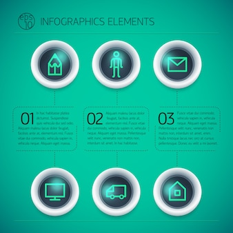 Business infographic design template with rings text neon icons three options on green background isolated
