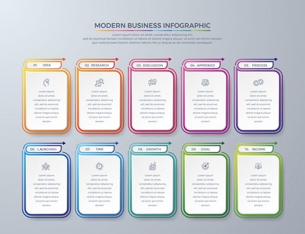 Business infographic design with 10 process choices or steps