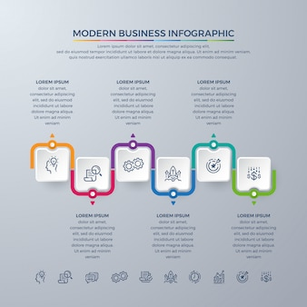 Business infographic design with 6 process choices or steps.