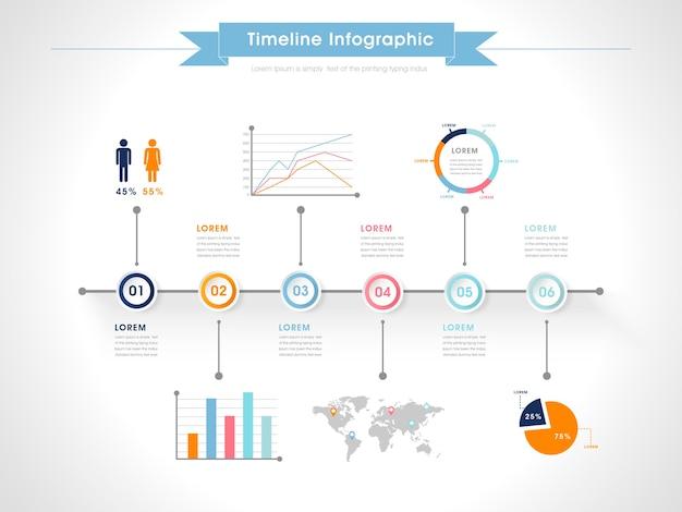 カラフルなチャート要素とビジネスインフォグラフィックデザイン