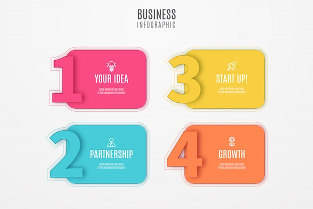 Business infographic design with numbers Free Vector