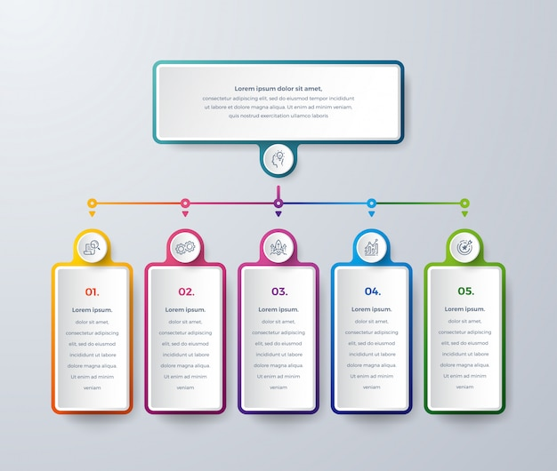 Business infographic design with process choices or steps.