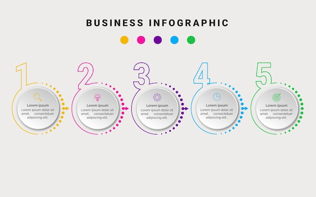 Business infographic element 5 step