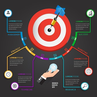 Business infographic element design concept with dartboard.