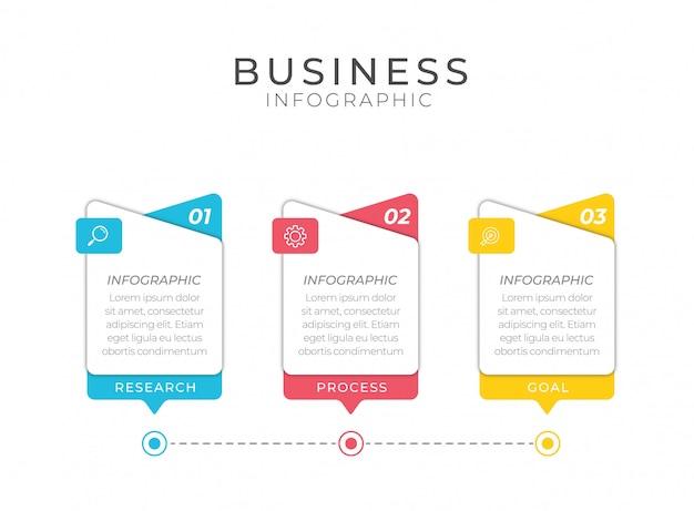 3つのオプション、手順、番号テンプレートデザインのビジネスインフォグラフィック要素