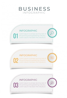 Бизнес инфографики элемент с 3 вариантами, шаги, дизайн шаблона номера
