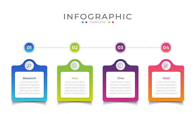 Business infographic element with 4 options, steps, number   template design