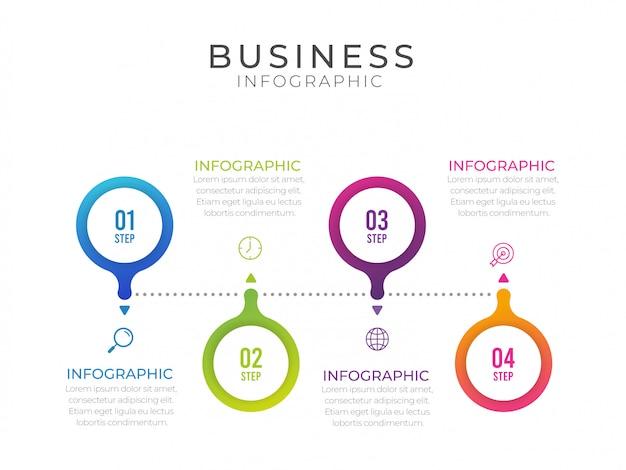 Бизнес-инфографический элемент с 4 вариантами, шагами, дизайном шаблона номера