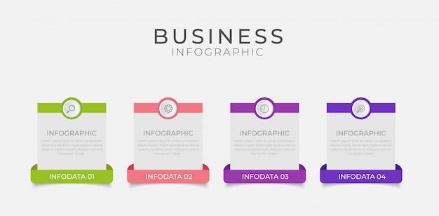 Бизнес инфографики элемент с 4 вариантами, шаги, дизайн шаблона номера