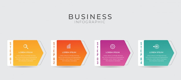 4 가지 옵션, 단계, 숫자 템플릿 디자인이있는 비즈니스 인포 그래픽 요소