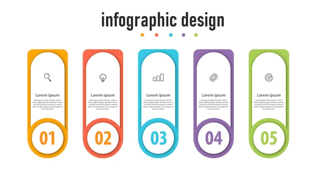 5つのオプションステップ番号テンプレートデザインとビジネスインフォグラフィック要素