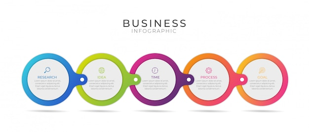 Бизнес-инфографический элемент с 5 вариантами, шагами, дизайном шаблона номера