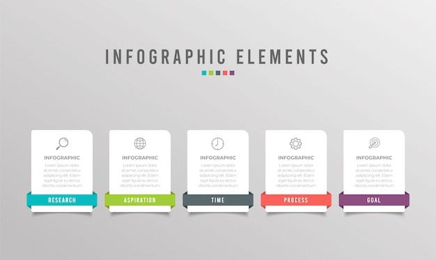 5つのオプション、手順、番号テンプレートデザインのビジネスインフォグラフィック要素
