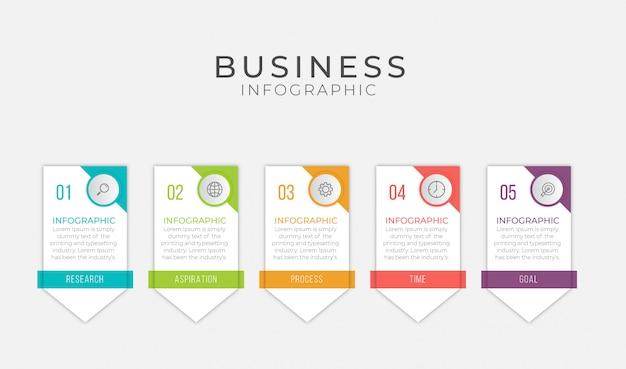 Бизнес инфографики элемент с 5 вариантов, шаги, дизайн шаблона номера
