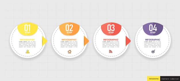 Business infographic element with 5 options.