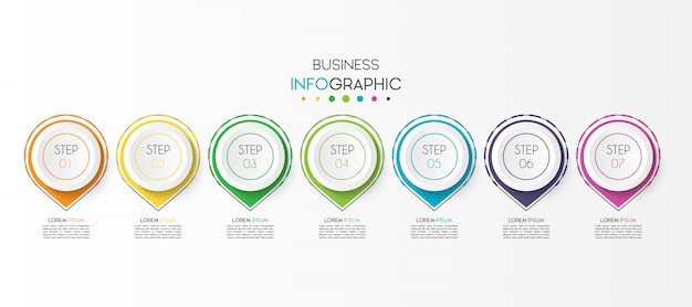 Business infographic element with 7 options or steps