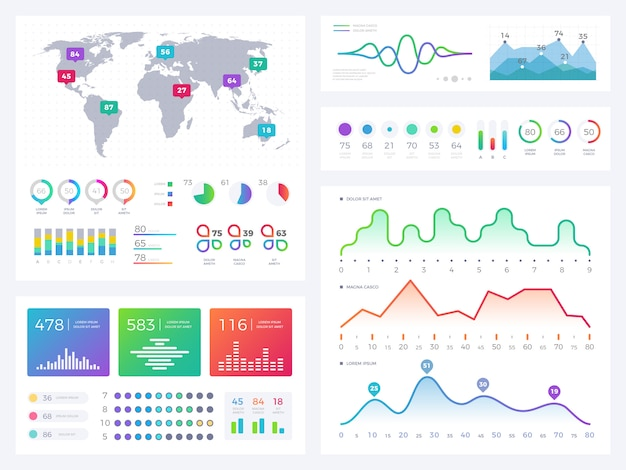 Business infographic elements, flowing graphics, stock market reports and workflow charts vector set