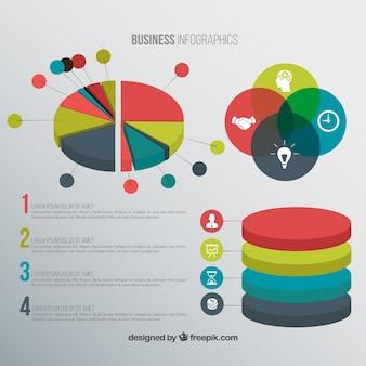 色でビジネスインフォグラフィック要素