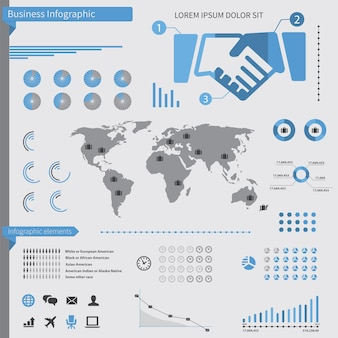 Business infographic elements, on white background