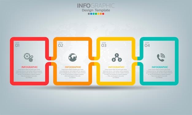 4つのオプションまたはステップを持つビジネスインフォグラフィック要素