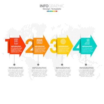4 가지 옵션 또는 단계가있는 비즈니스 인포 그래픽 요소