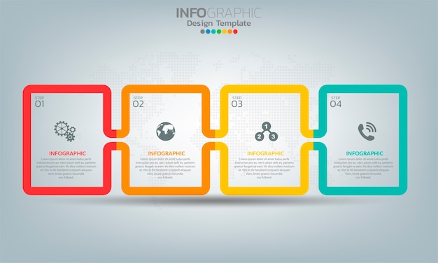 Business infographic elements with 4 options or steps