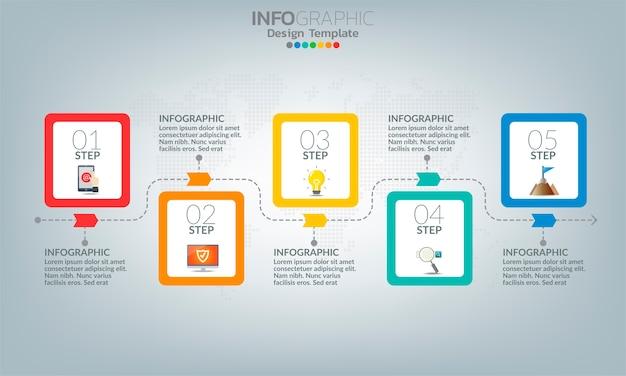 Элементы бизнес-инфографики с 5 вариантами или шагами