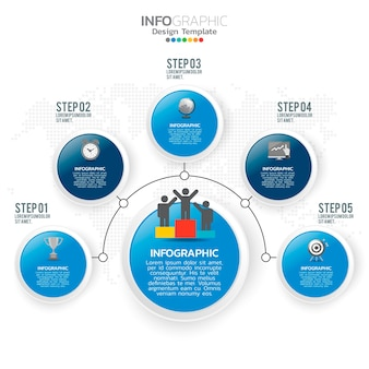 Business infographic elements with 5 options or steps blue theme.