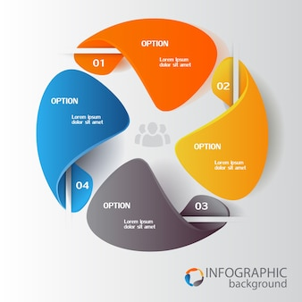 Business infographic elements with colorful circle chart four options and people icon