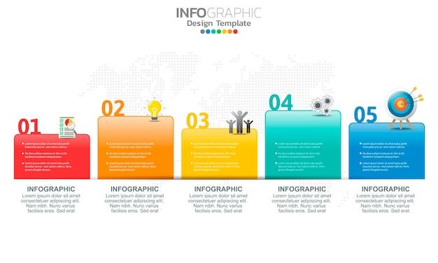 Элементы бизнес-инфографики с вариантами или шагами.