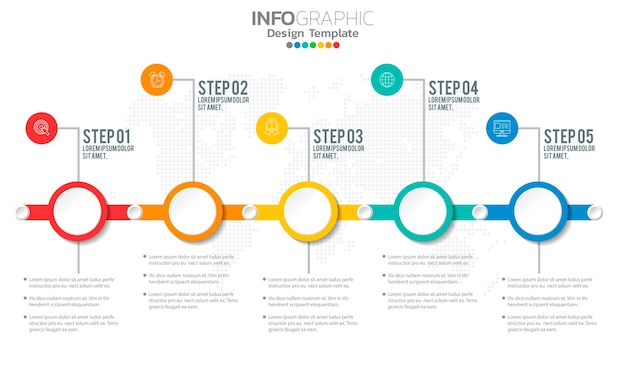 Business infographic elements with options or steps.