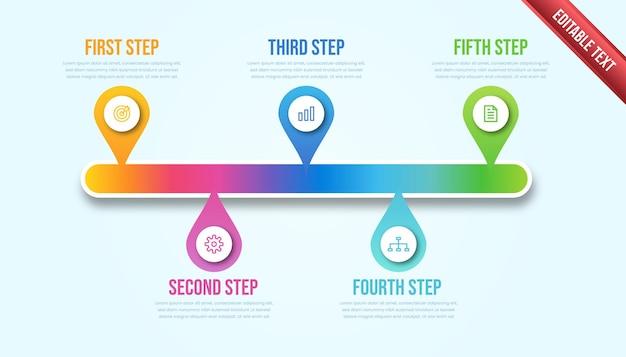 ビジネスインフォグラフィックの5つのステップ。カラフルなモダンなタイムラインのインフォグラフィックテンプレート。
