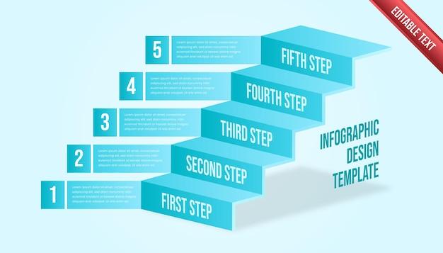 ビジネスインフォグラフィックの5つのステップ。トスカまたは青い色をテーマにしたモダンなタイムラインのインフォグラフィックテンプレート。