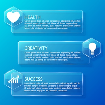 Business infographic glass horizontal banners with text hexagons and white icons on blue illustration