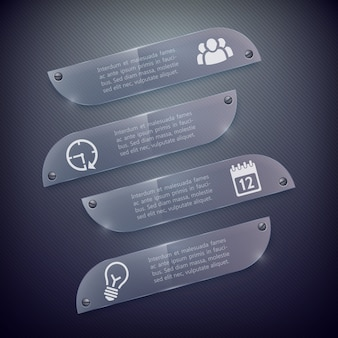 Business infographic glass horizontal banners with text and icons